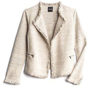 NWOT Nic + Zoe Mila Frayed Detail Tweed Jacket S Ivory